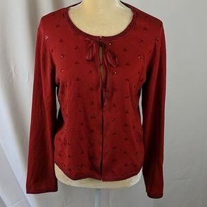 Vtg April Cornell red sequin cardigan